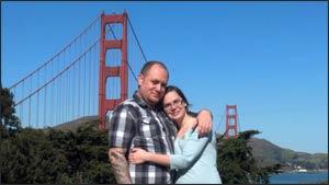 Kile Jones and Tia Carley visiting the Golden Gate Bridge