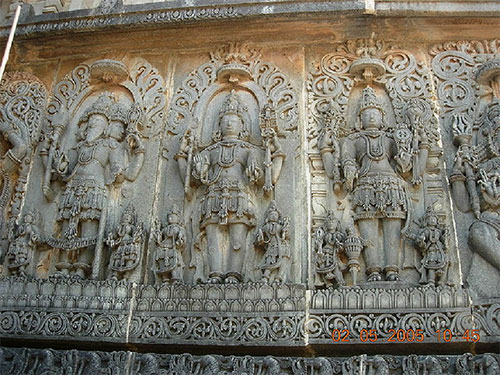 Brahma, Vishnu and Shiva at a temple in Halebidu – Photo: Wikipedia