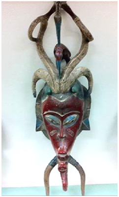 This Gu Mask is painted wood from Mali or Côte d'Ivoire, 19th-20th century.