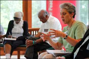 Dr. Susan Kopp, Secretary of Religions for Peace USA, shares a thought during the Executive Council Retreat in August.