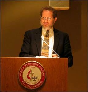 Professor Yehezkel Landau speaking at Martin Methodist College. - Photo: al.com