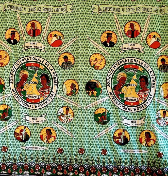 A cloth commemorating International Women's Day in 2006 in Cameroon. – Photo: Wikimedia,  Thomathon, Cc. 2.0