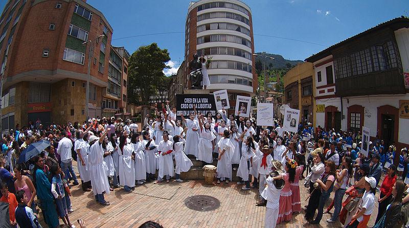International Women's Day being celebrated in Bogota, Columbia in 2009 – Photo: Wikimedia,  alextorrenegra, Cc. 2.0