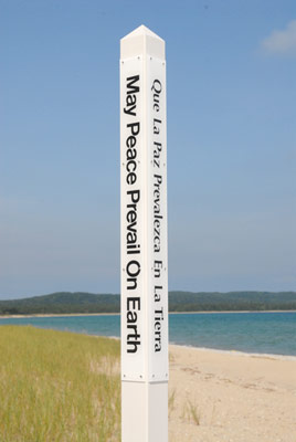 The Peace Pole Project of the  World Peace Prayer Society  has been responsible for tens of thousands of peace poles being raised in more than 180 countries. – Photo: peacepoleproject.org