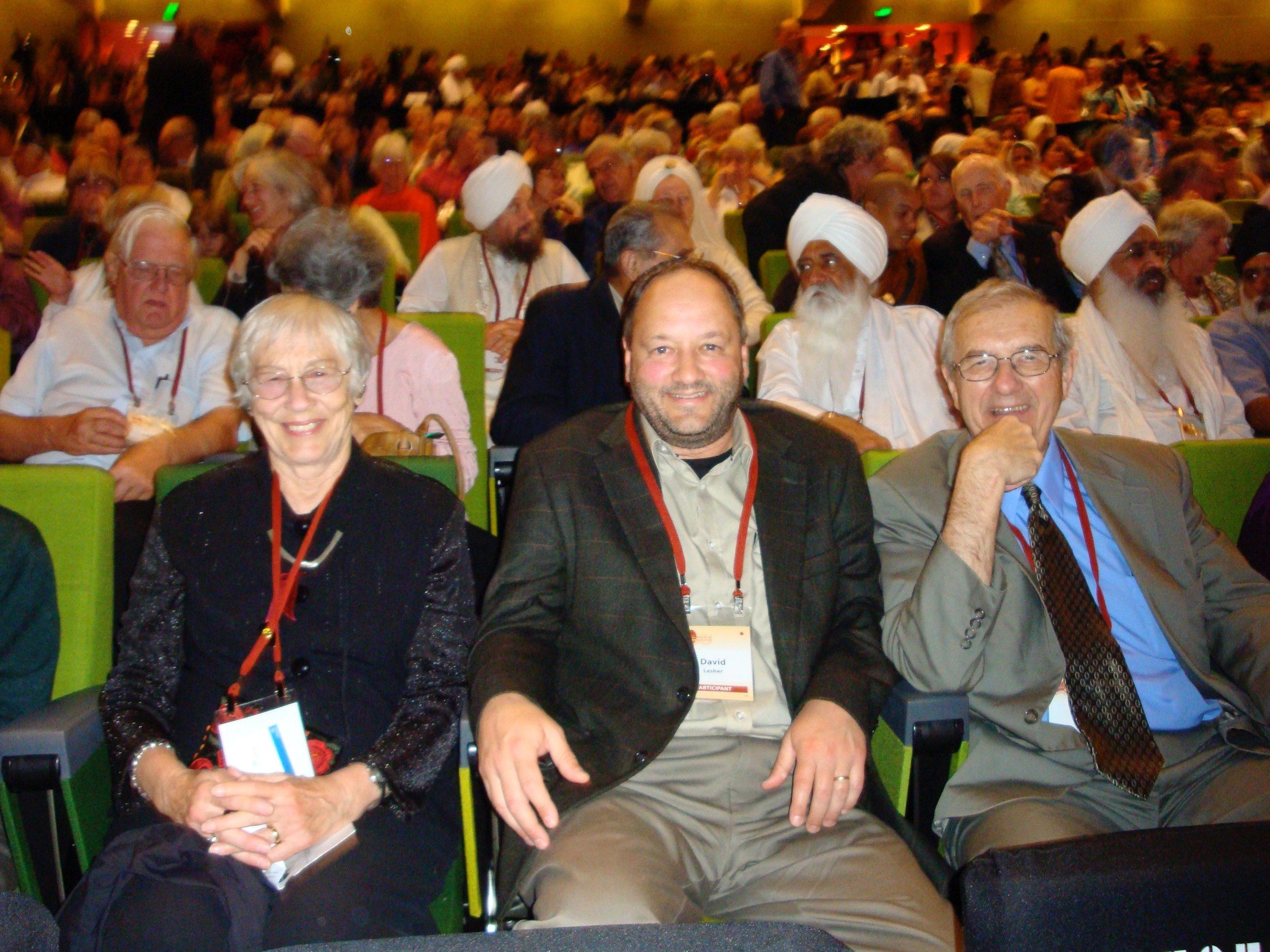 Jean and Bill Lesher's son David sits between them at a program during the 2009 Parliament in Melbourne – Photo: the Leshers