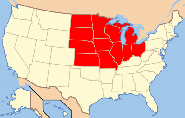 The Midwest states of the United States, the furthest on the right being Ohio – Graphic:  Wikimedia, GNU 1.3