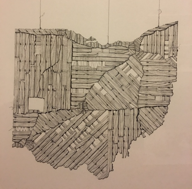 An ink drawing of the state of Ohio by Martin A. Wilke, with Miami County (on the left, two-thirds of the way down), where Bud grew up, highlighted. – Photo: BH