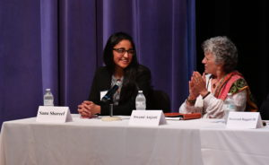 Swami Anjani (right), from URI Cooperation Circle Kashi, was a featured speaker at the  Breaking Barriers end-of-year panel . – Photo: URI