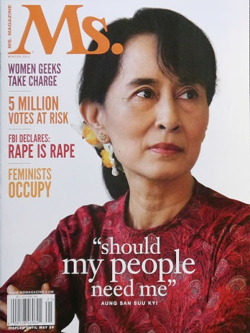 Aung San Suu Khi featured on the cover of Ms. Magazine, Winter 2012 – Photo:  Wikipedia, Liberty Media for Women, Cc.4.0