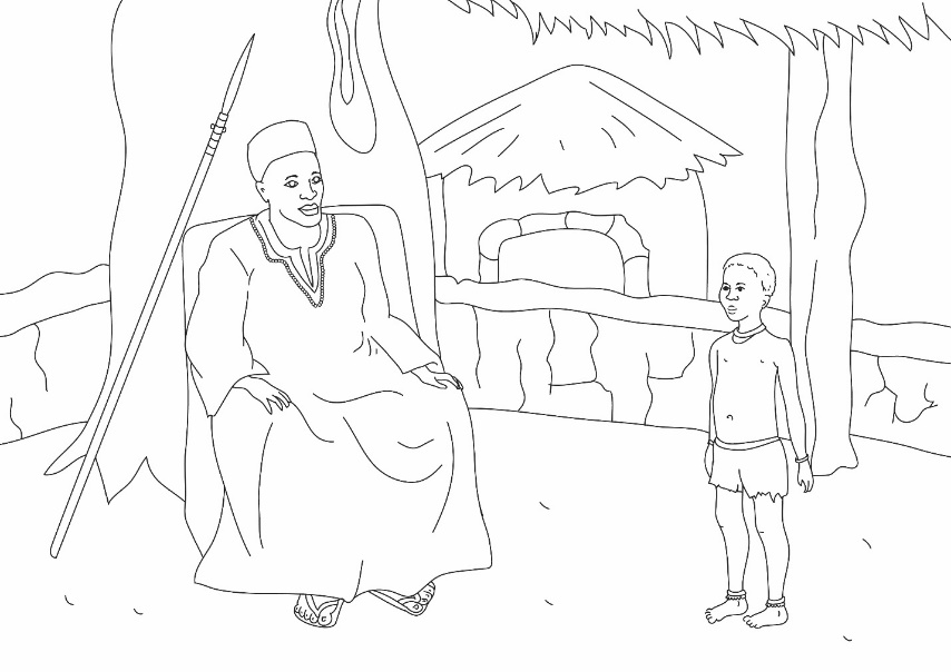 """Wise Boy Refused to Fight with the Chief"" story illustration used in our Bible-based, interfaith Peace curriculum for kids – Photo: VG"
