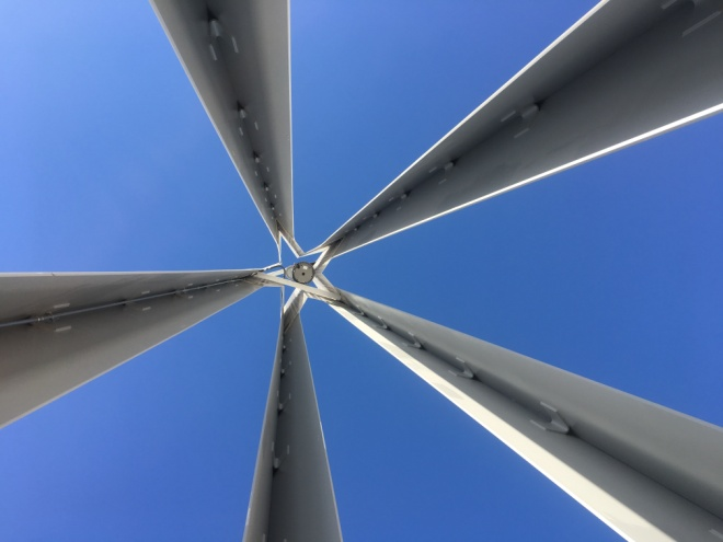 Looking up into a Muslim minaret on the Tri-Faith Initiative campus   – Photo: BH