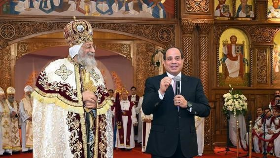 Coptic Patriarch Tawadros and Egyptian President Abdel Fattah al-Sisi at the Christmas Eve Mass – Photo:  Vatican Insider
