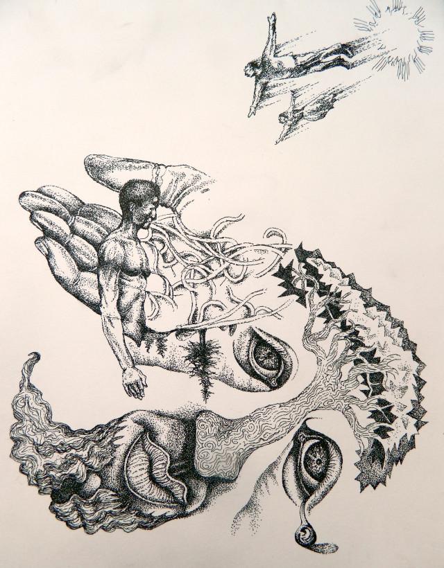 """Born of the Sun"" ink on paper 14"" x 8"" – Andre Van Zijl"