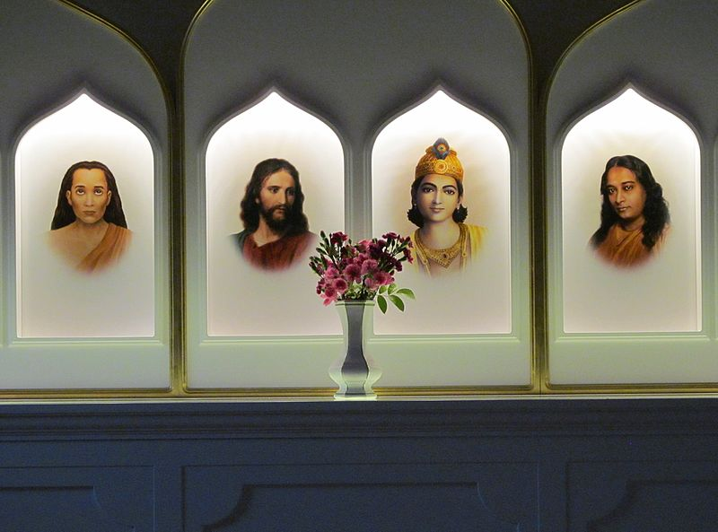 Altar of the meditation circle Langerringen near Augsburg in Bavaria, Germany. From l: Mahavatar Babaji, Jesus, Bhagavan Krishna, Paramahansa Yogananda – Photo:    Wikimedia