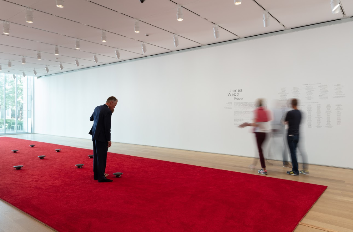 James Webb. Installation view of  Prayer (Chicago) , 2018. © James Webb. Courtesy of blank projects and Galerie Imane Farès. Courtesy of the Art Institute of Chicago.