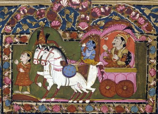 Krishna and Arjun on the chariot, Mahabharata – Photo:    Wikimedia
