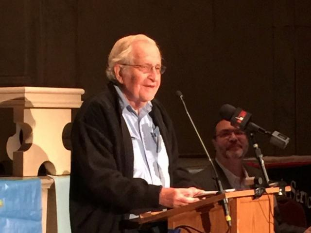 """Keynote speaker Noam Chomsky at """"Two Minutes to Midnight"""" Conference in New York City – Photo: JR"""