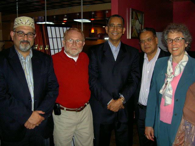 (l to r): Abdul Aleem, Usman Madha, Helal El Sherif, Dr. Mohsen Hamza and Rabbi Laura Geller – Photo: Ruth Broyde Sharone