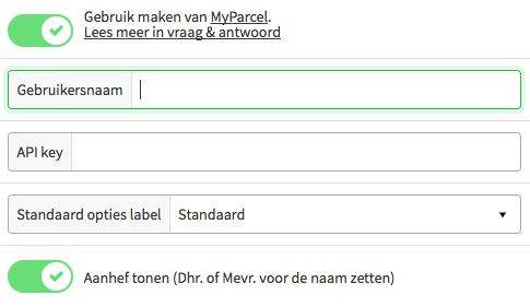 Met één klik de MyParcel koppeling activeren vanuit jouw MijnWebwinkel instellingen