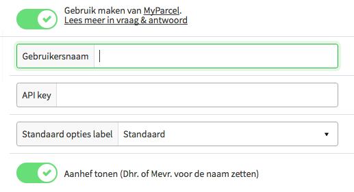 Screenshot van de MyParcel koppeling in MijnWebwinkel