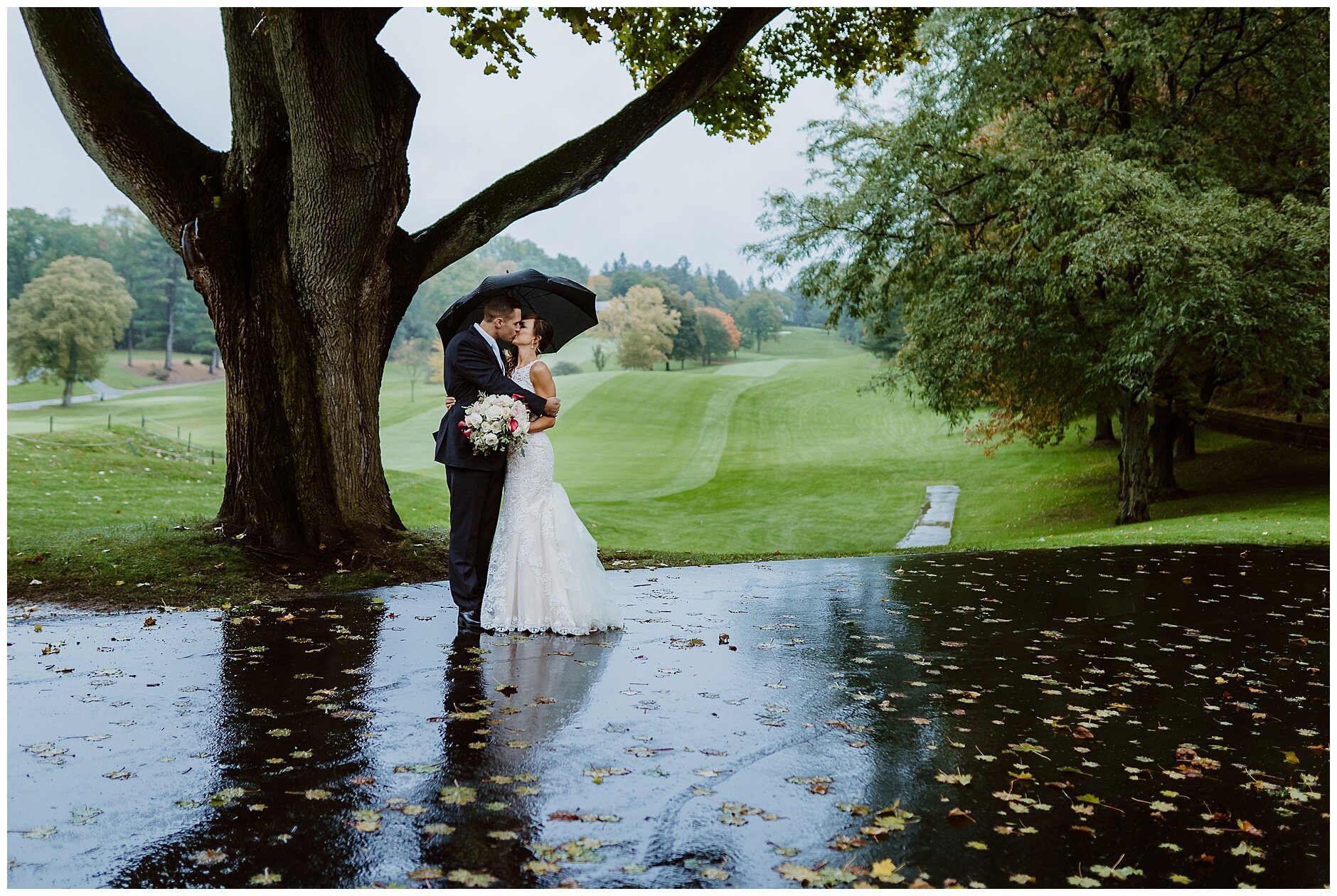 Rainy day wedding portraits Rochester NY Photographer
