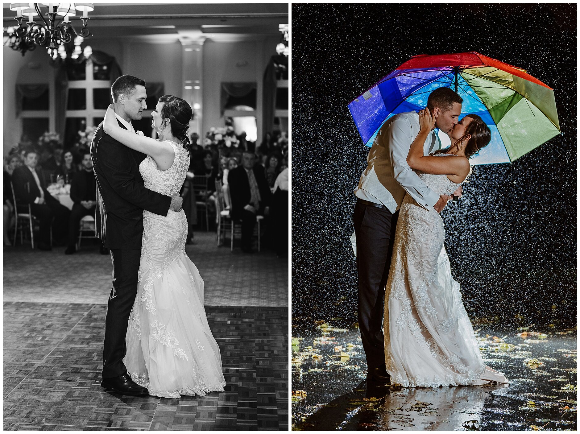 Rainy Wedding Day Night Picture Buffalo Wedding Photographer