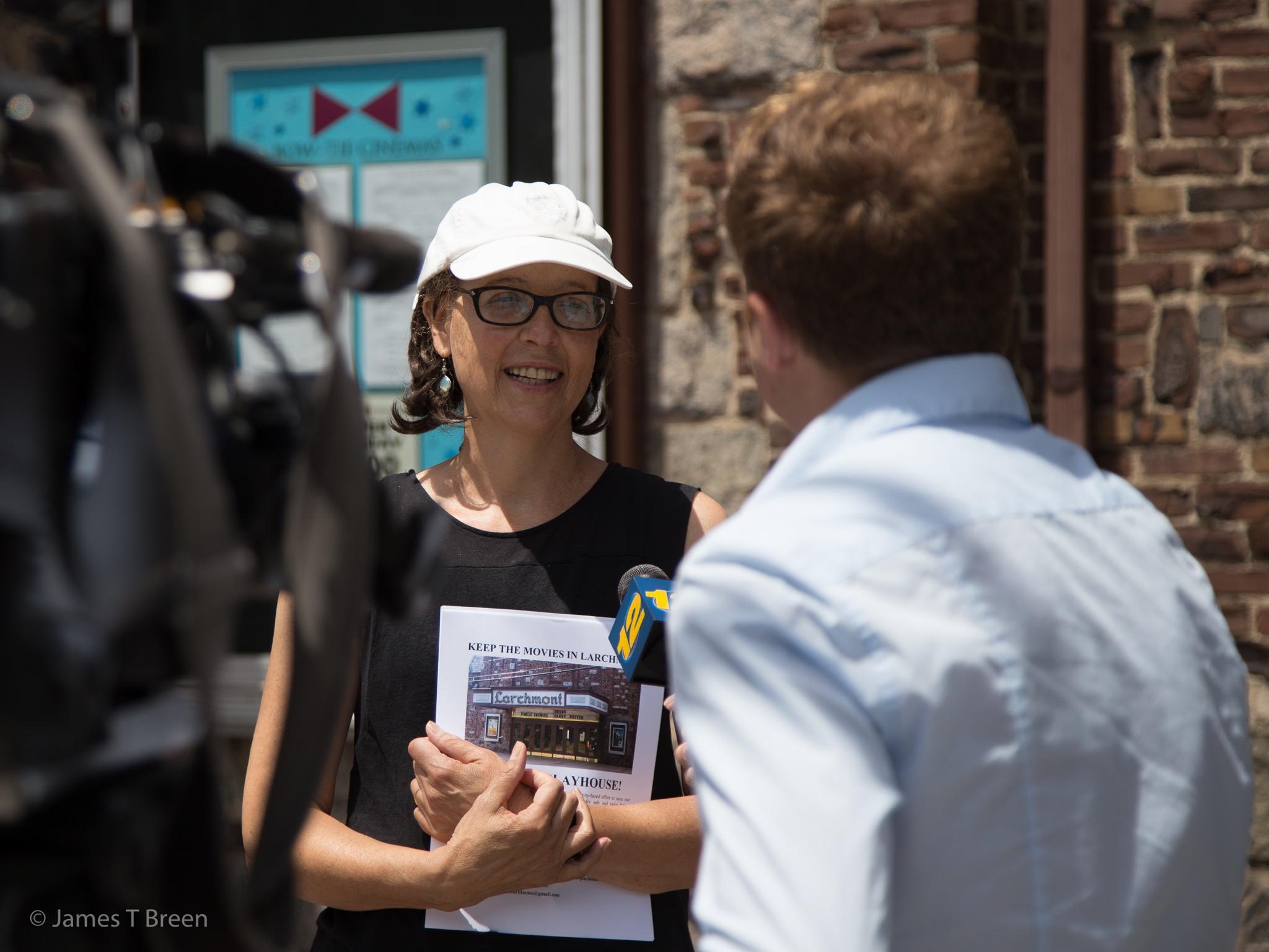 Organizer Ellen Zuckert speaks to Zack Sos of Channel 12.