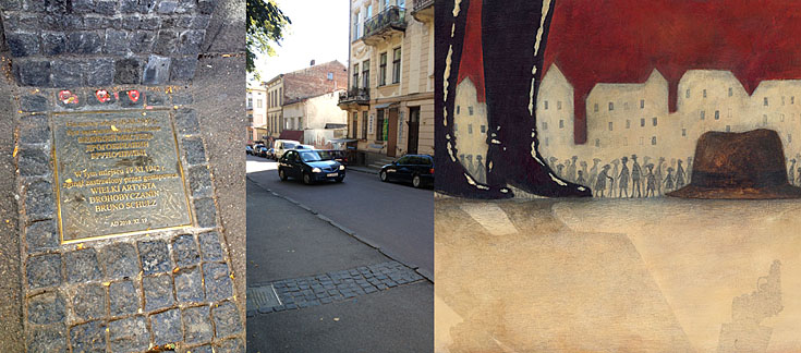 The spot where Schulz was killed in November 1942 (illustration from the book on the right)