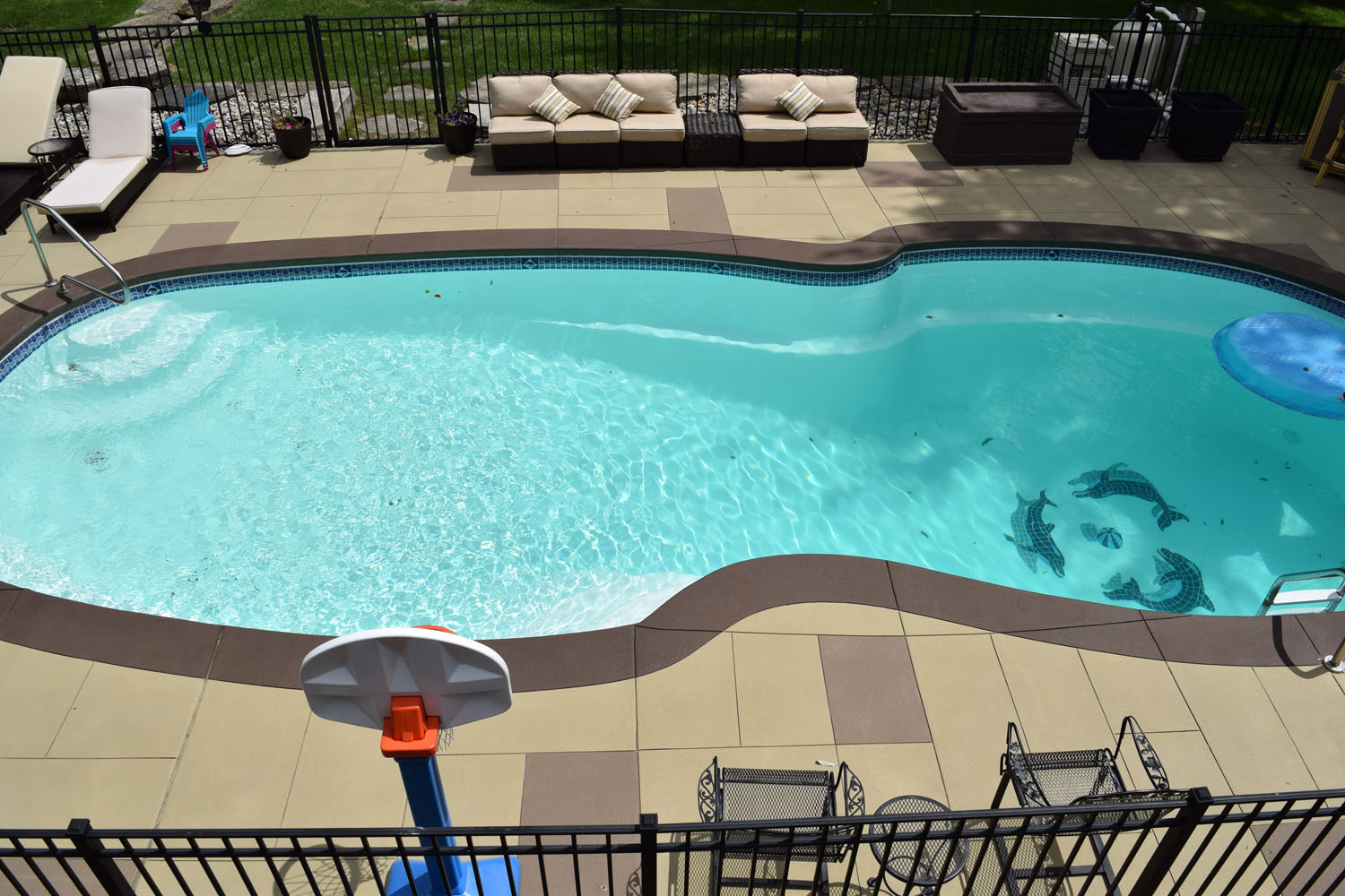 Residential Pool Deck Cement Overlay.  Brickform SM Pro, Liquid Color, and Gemseal