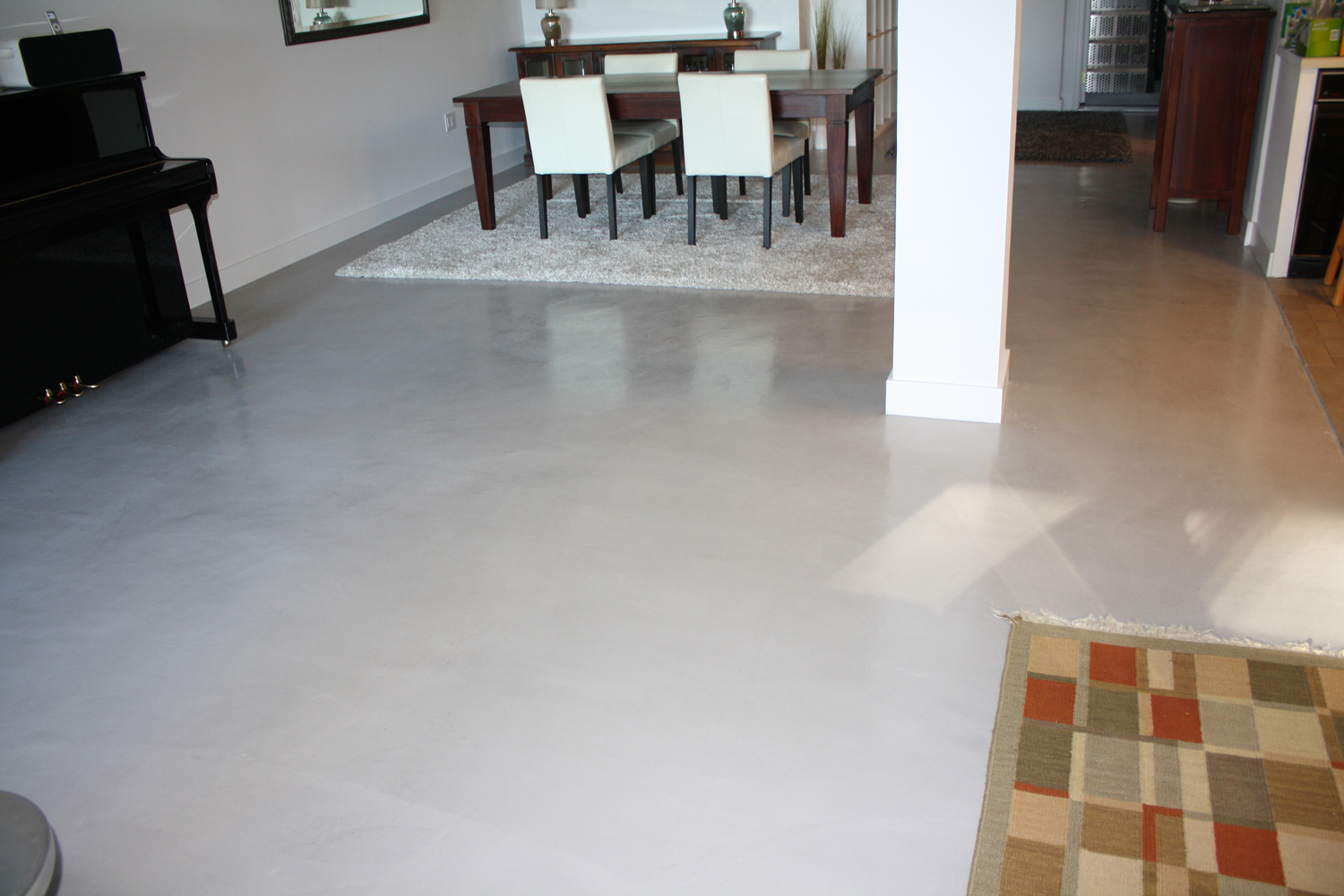 Triple 7 Bondcoat, Base coat SMPro white, MT 3000 liquid polymer w Stone gray color, 2nd coat, same SMP w Stone gray color, 3rd coat, of Brickform Microtopping white w Stone gray color. sand w 100 grit paper, application of two coats of Gem Seal 100