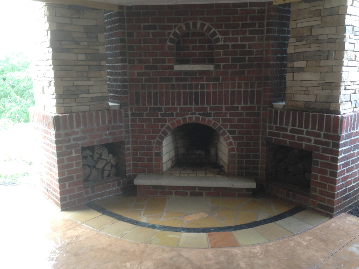 Sandy buff integral with sun buff antique it and natural stone inlay