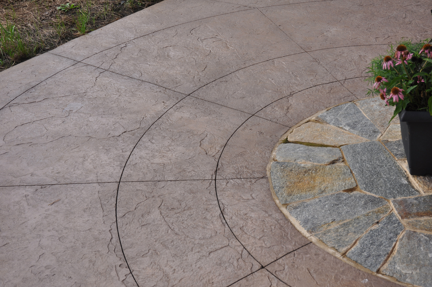 Integral colored and stamped concrete