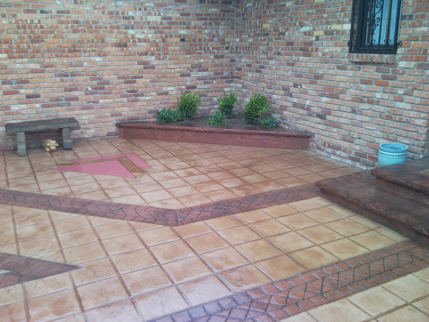 Brick red integral color, dark gray release, bluestone texture Santa Fe buff color, terra cotta release, mexican tile texture Gem Seal Freestyle stain Acid Stain