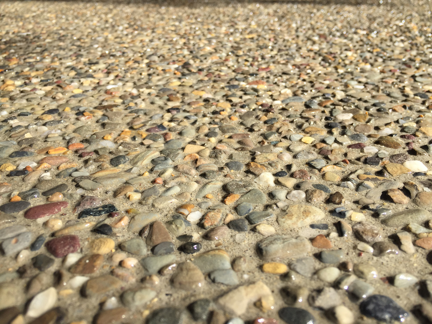 This picture shows a closeup of exposed aggregate concrete. Our customers love the level of detail. We used Brickform SSD. We also sometimes color the concrete with integral color to change the contrast between the exposed stone and cement.