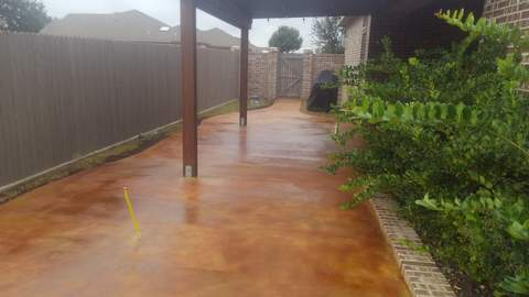 We did a sidewalk/patio and used Mission Brown and coffee Acid Stain and then sealed it with a Clear Seal