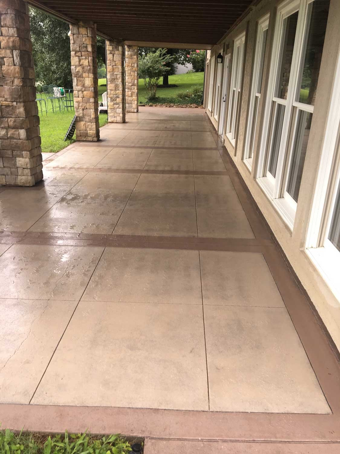 Concrete was poured in 1992. Revived by adding decorative saw cuts, and tinta-seal.