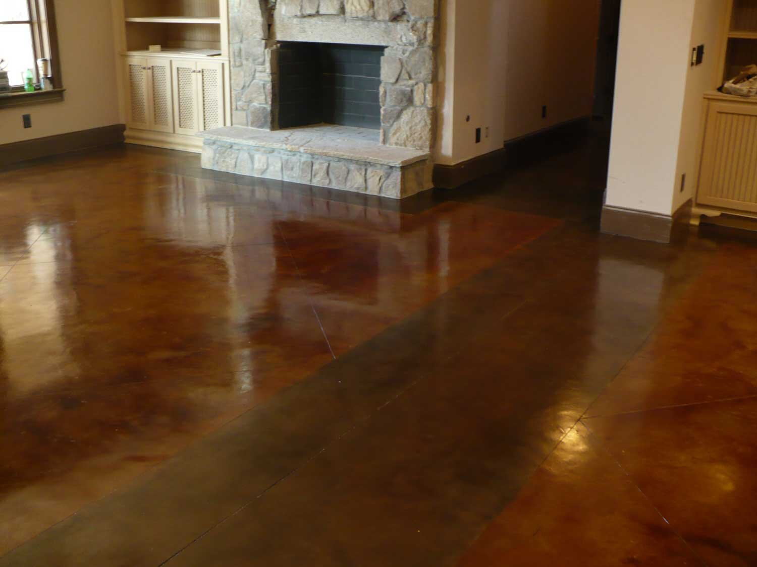 Mission Brown and Walnut Blush-Tone acid stain.