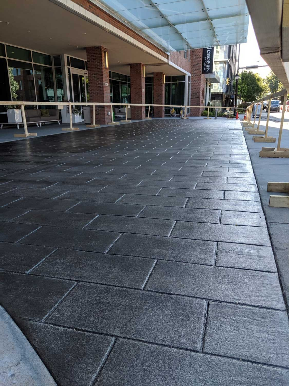 Running Bond Slate pattern, French Gray integral color with Dark Gray Antique it.
