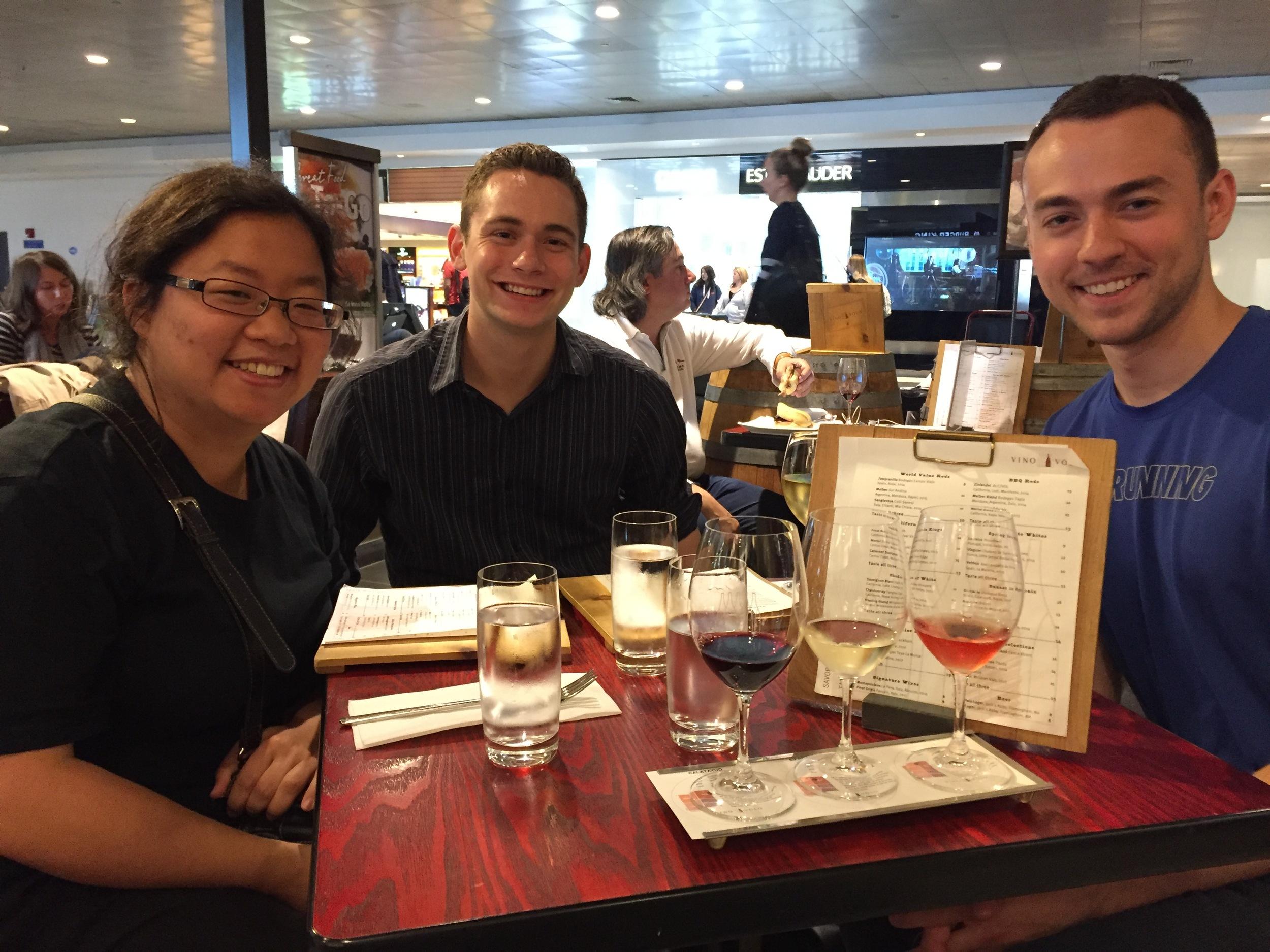 Jennifer, David, and Kade enjoying their last meal before flying from Boston en route to Copenhagen.