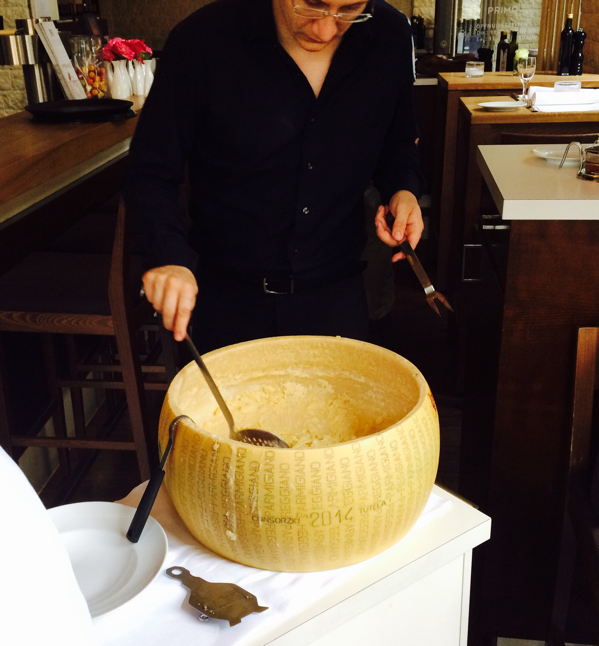 Pasta spun in the cheese wheel!