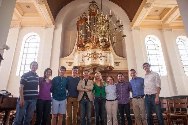 We pose with Anton Pauw in front of the van Covelens organ in the Nieuwe Kerk in Haarlem.