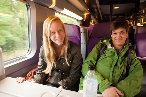 Laura and Jordan on the train to Poitiers!