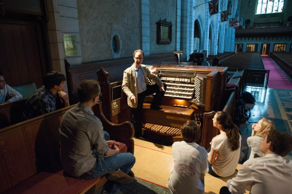 """onathan Oldengarm talking with us about the """"Cadillac"""" Casavant organ."""
