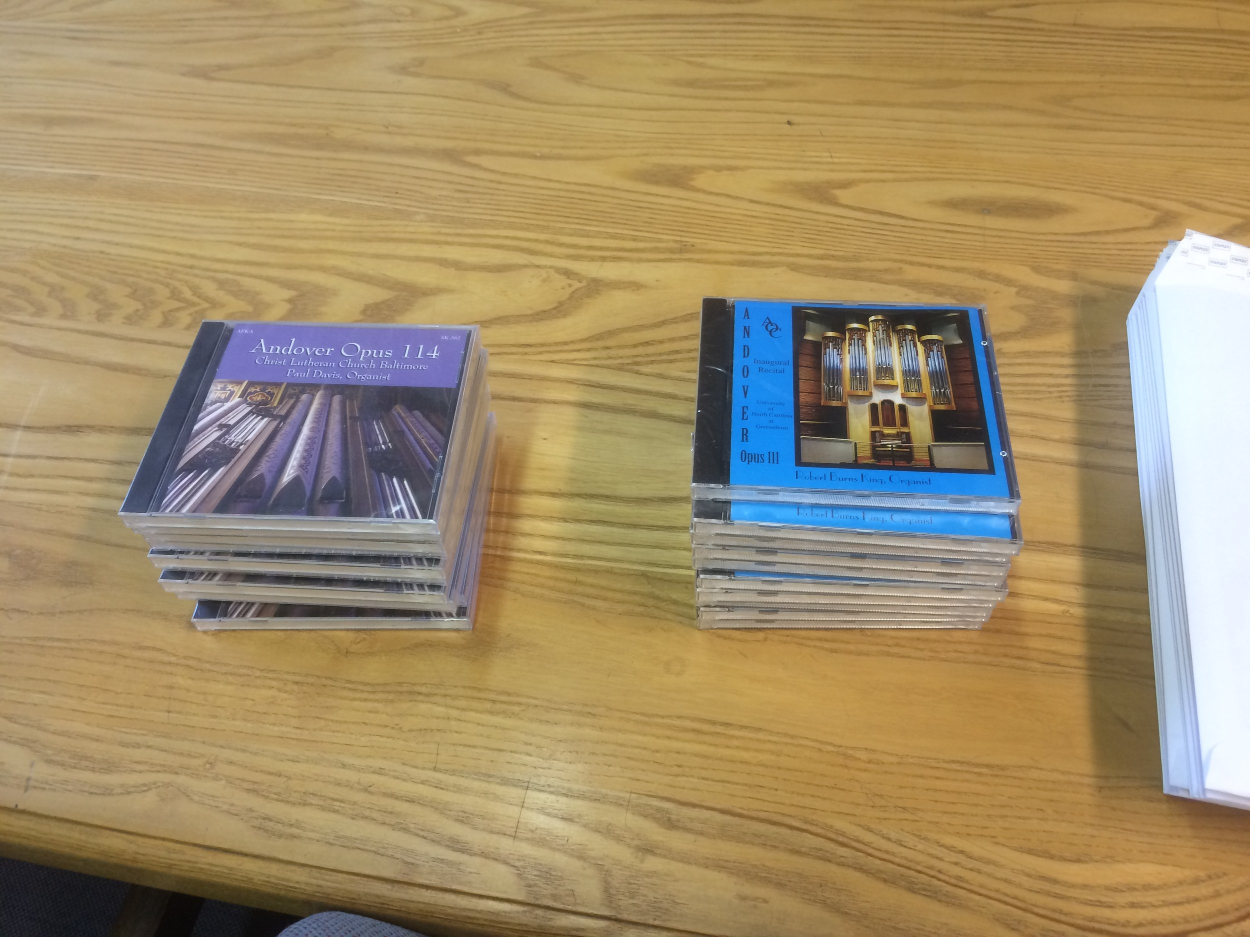 We received some nice goodies from the Andover Organ Company for visiting – CD's of people playing on organs they built.
