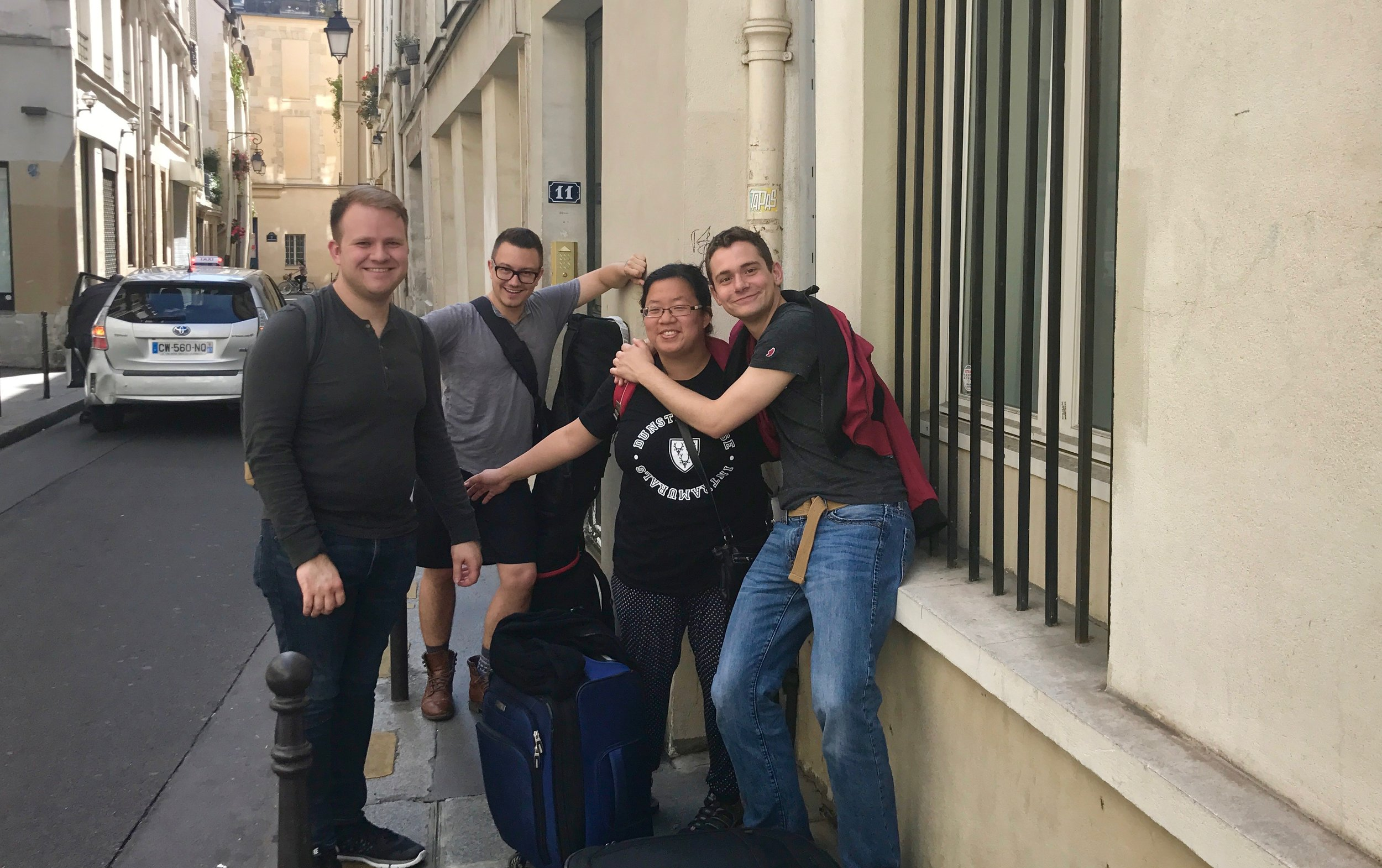 Billy, Corey, Jennifer, and David outside our Paris apartment.
