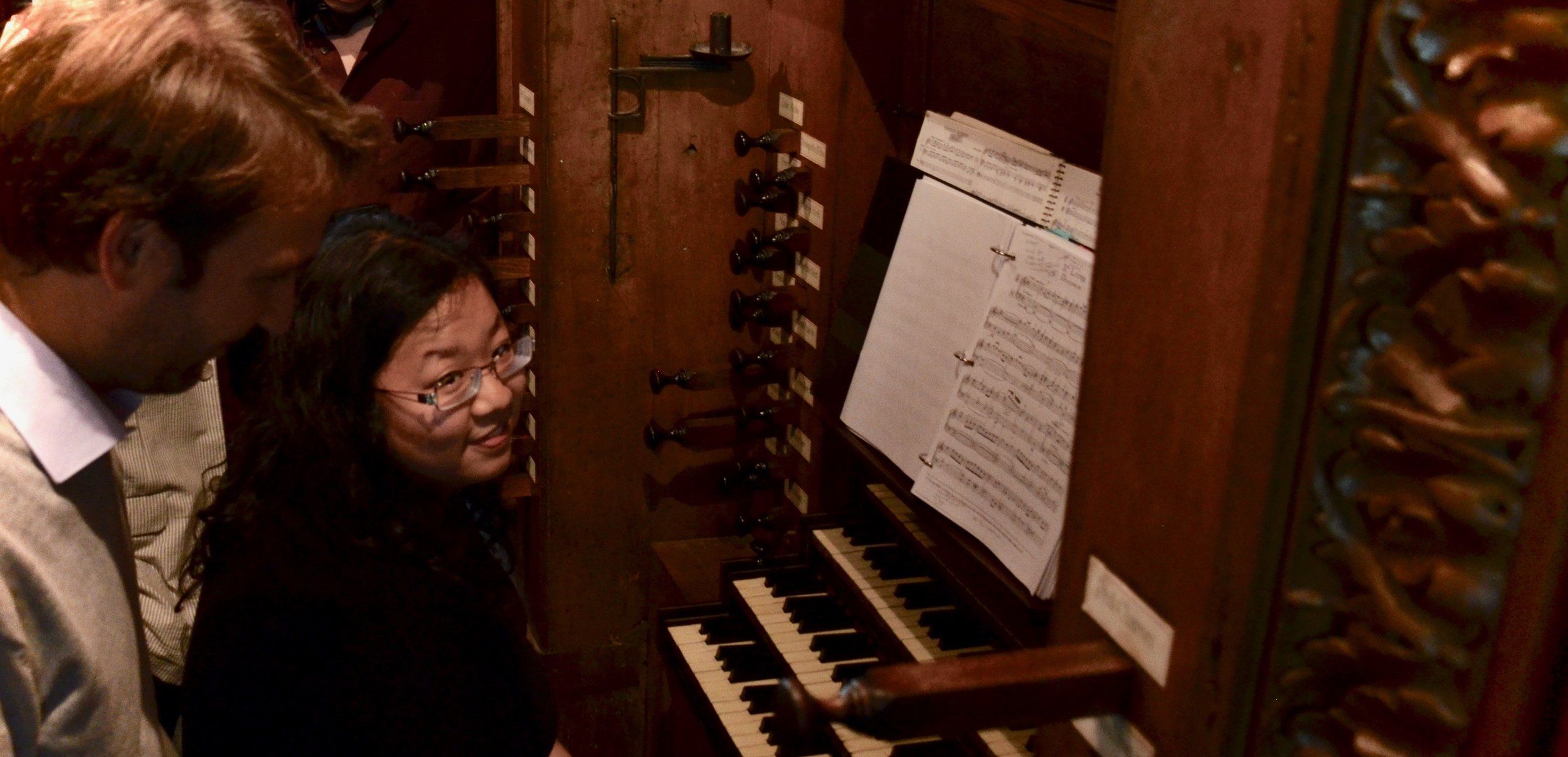 Jennifer working with Oliver Houette. -Boston Organ Studio