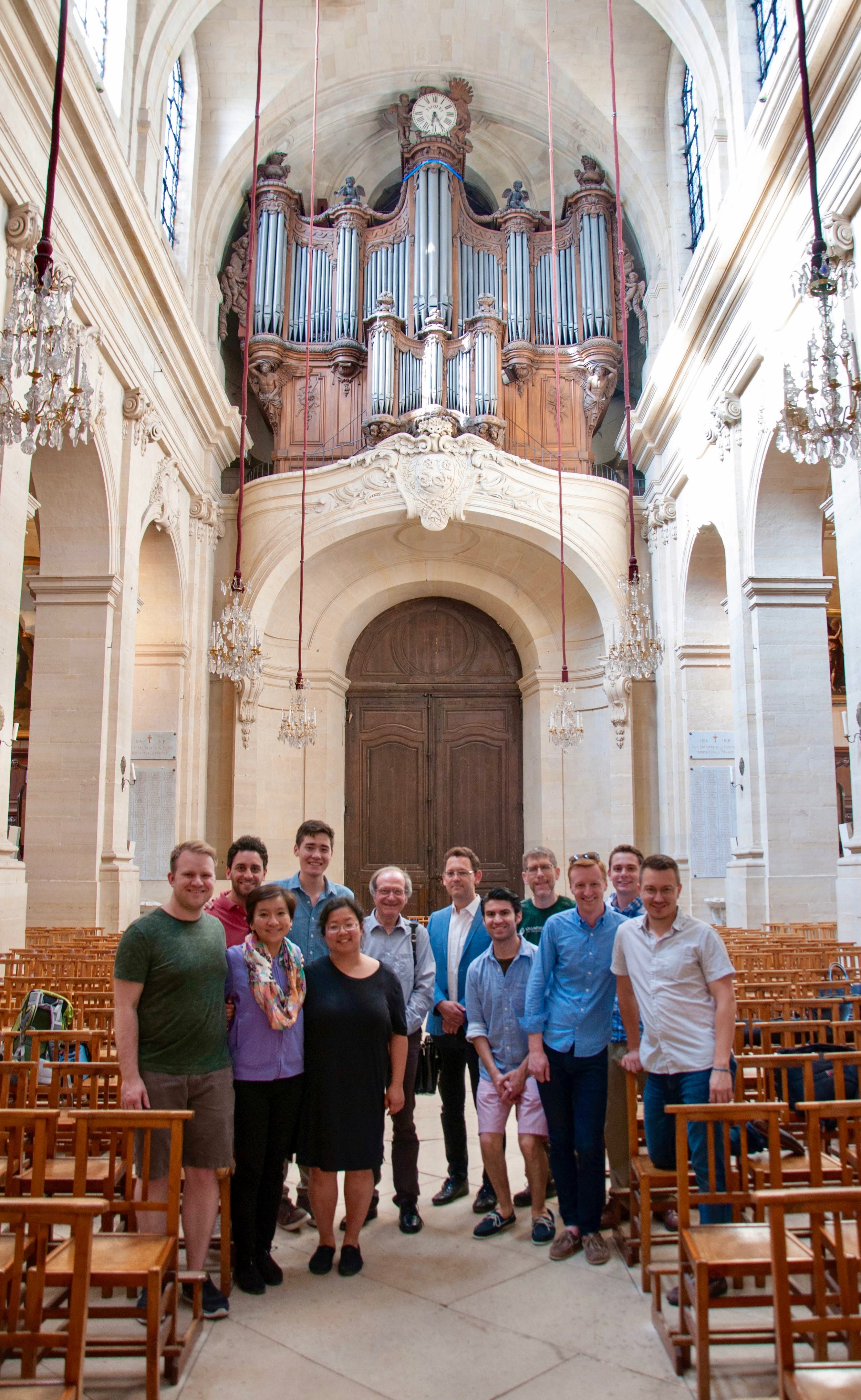 Members of the Boston Organ Studio with Jean-Baptiste Robin and Jean-Pierre Millioud at the Cathédrale of Saint Louis in Versailles