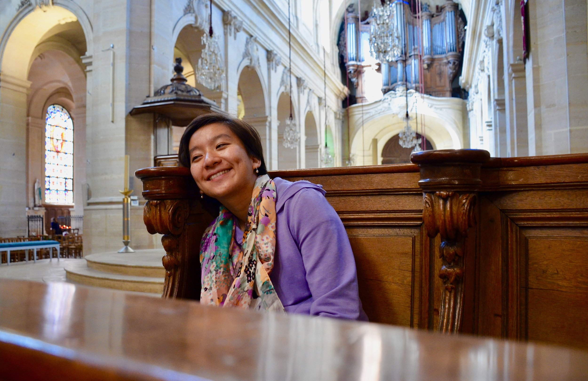 Olivia Chen is all smiles about the Choir Organ at Saint Louis