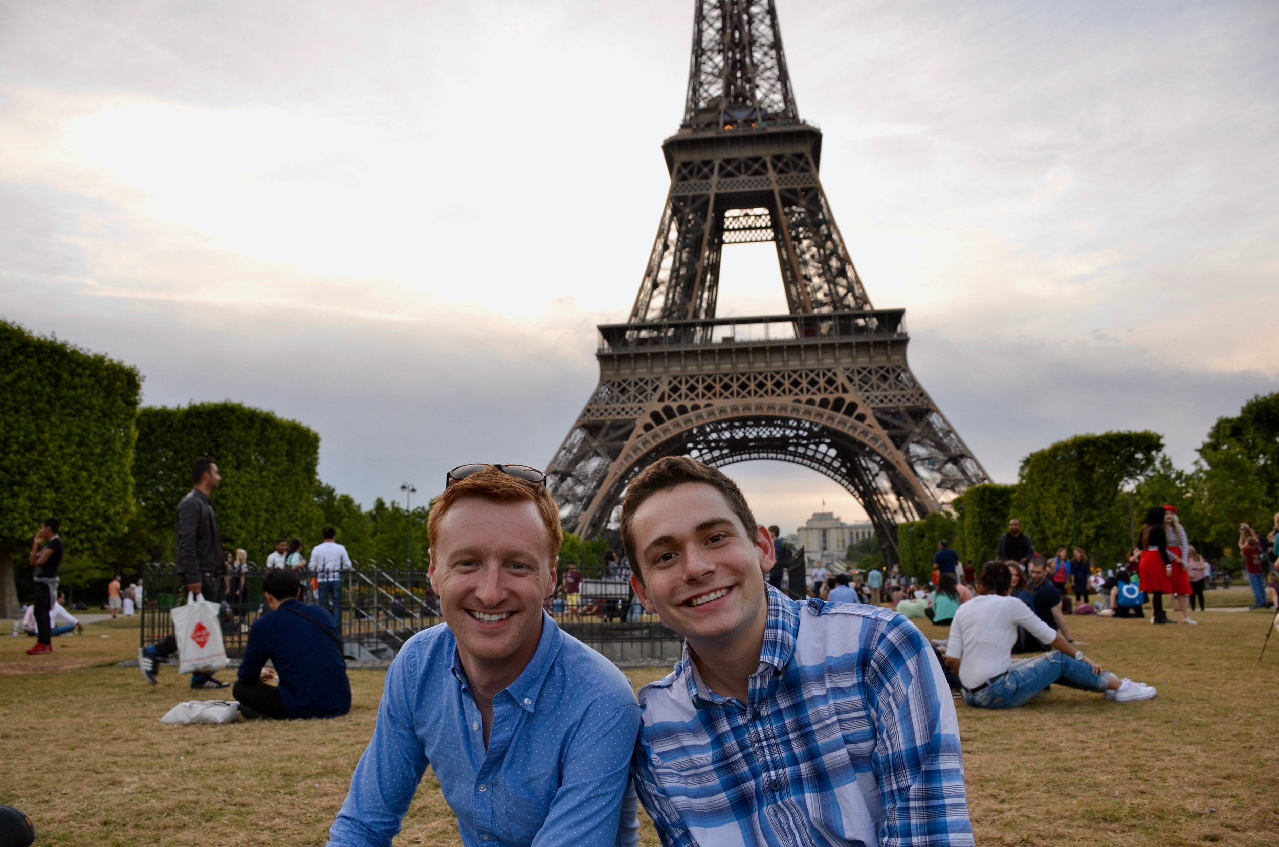 Jon Ortloff and David von Behren enjoying the Eiffel Tower before the Boston Organ Studio picnic