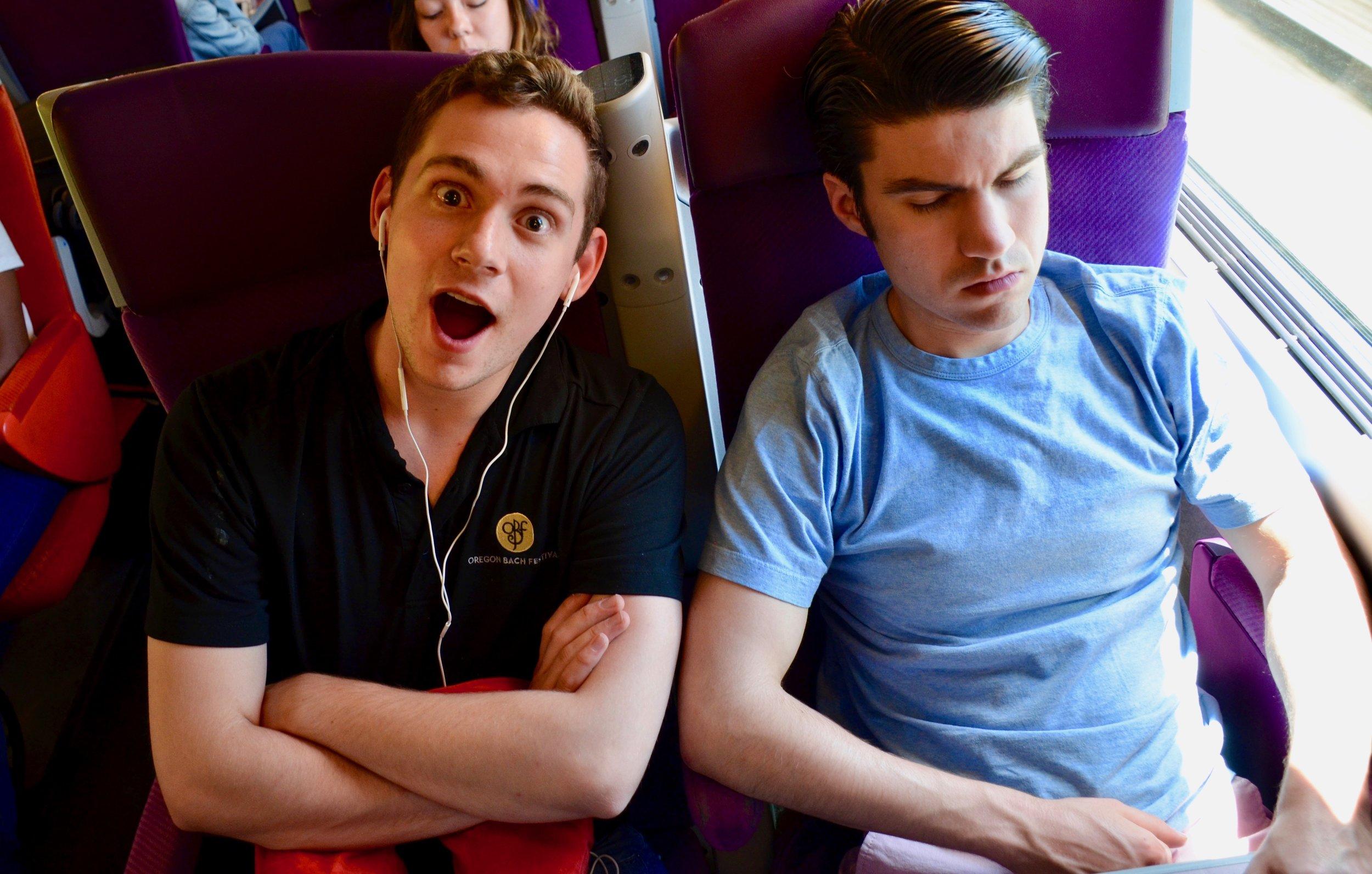 David von Behren and Brandon Santini on the TGV to Toulouse.